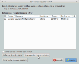 Llaves no disponibles para cifrar mails