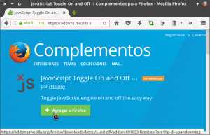 Agregar JavaScript Toggle On and Off en Firefox