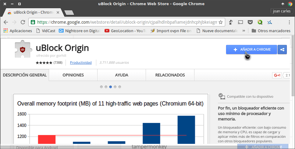 Añadir ublock origin en Chrome