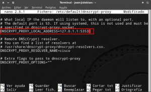 Modificar IP y Puerto en dnscrypt-proxy
