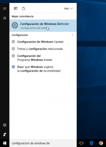 Acceder a la configuración de Windows Defender