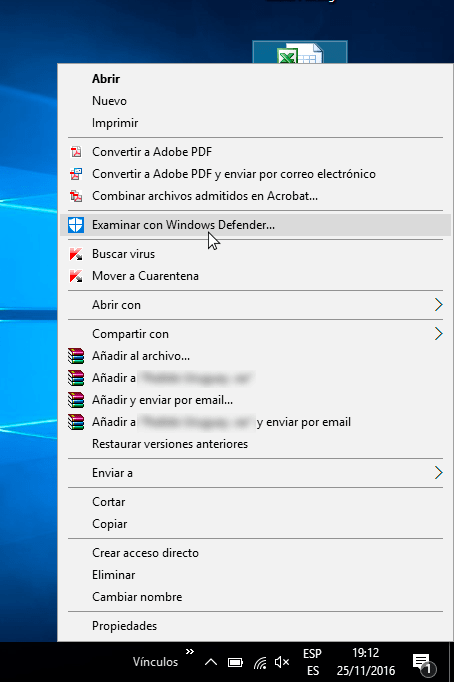 Windows Defender en el menú contextual