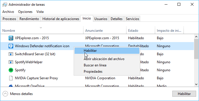 Reactivar el icono de Windows Defender