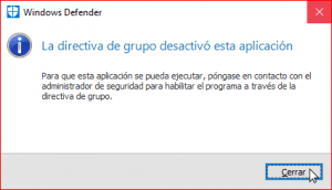 Windows Defender desactivado