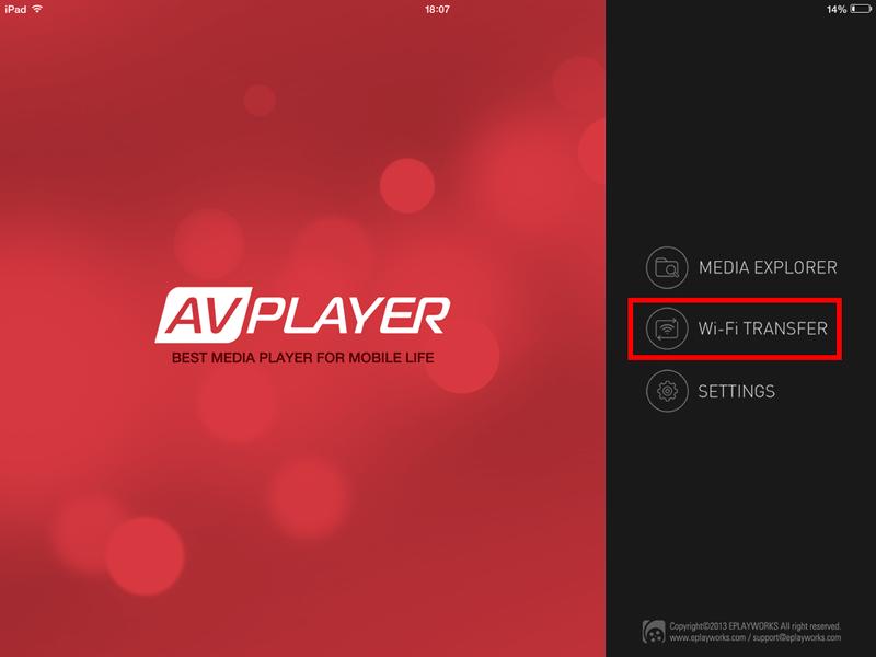 Acceder a la opción Wifi Transfer