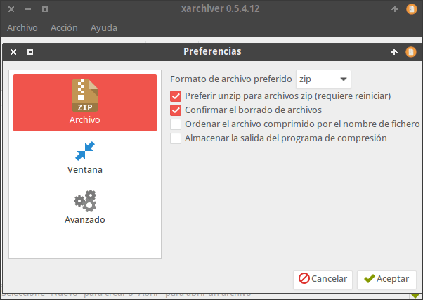 Preferencias del programa Xarchiver