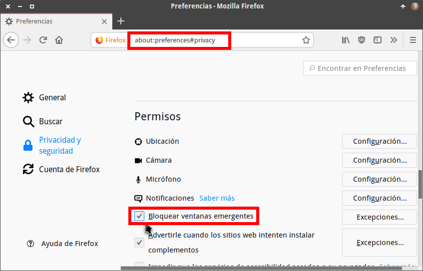 Bloquear ventanas pop-up en Firefox