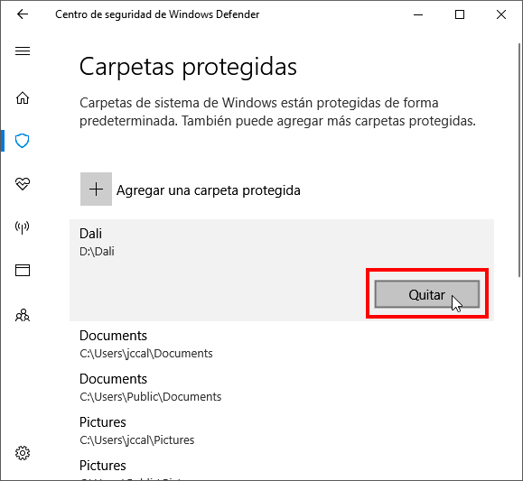 Desproteger una carpeta de Windows Defender