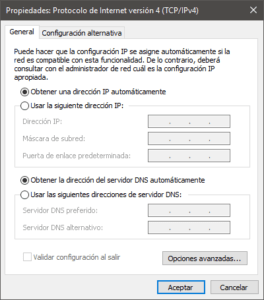 Configuración del gestor de red en Windows