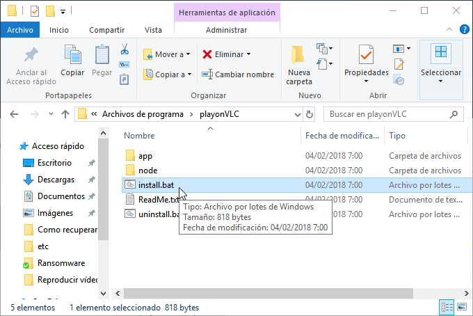 Instalar Open in VLC en Windows