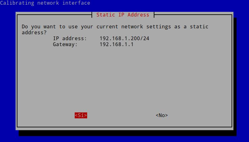 Confirmación de la IP estática en Pi-hole
