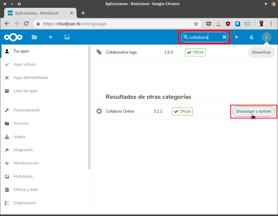 Descargar y activar Collabora Online en Nextcloud