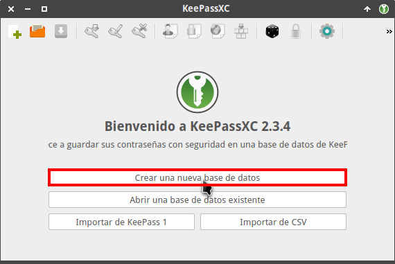 Crear una base de datos en KeePassXC