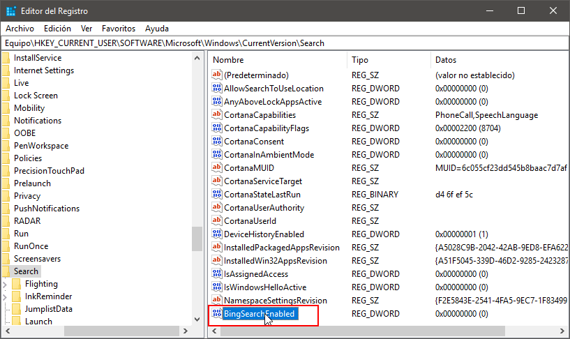 Acceder a los valores de la entrada del registro de Windows