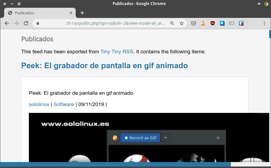 Grupo de noticias compartidas con Tiny Tiny RSS