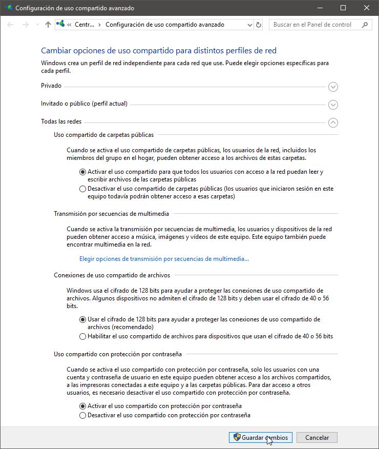 Opciones de uso compartido seleccionadas