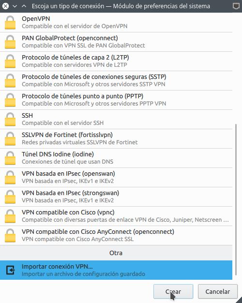 Importar la configuración para conectarnos a un servidor VPN en Linux