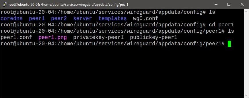 Ficheros dentro del directorio de configuración de Wireguard