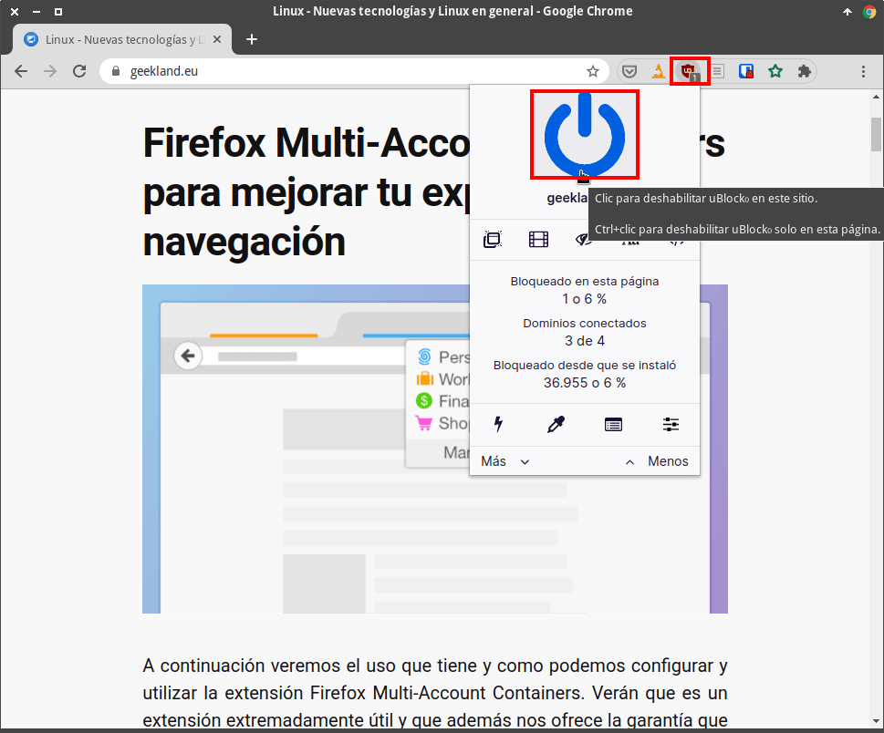 Desactivar uBlock origin en una determinada Web