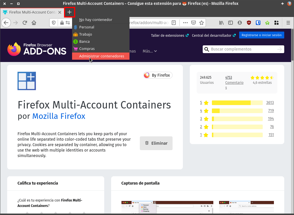 Administrar contenedores en Firefox Multi-account containers