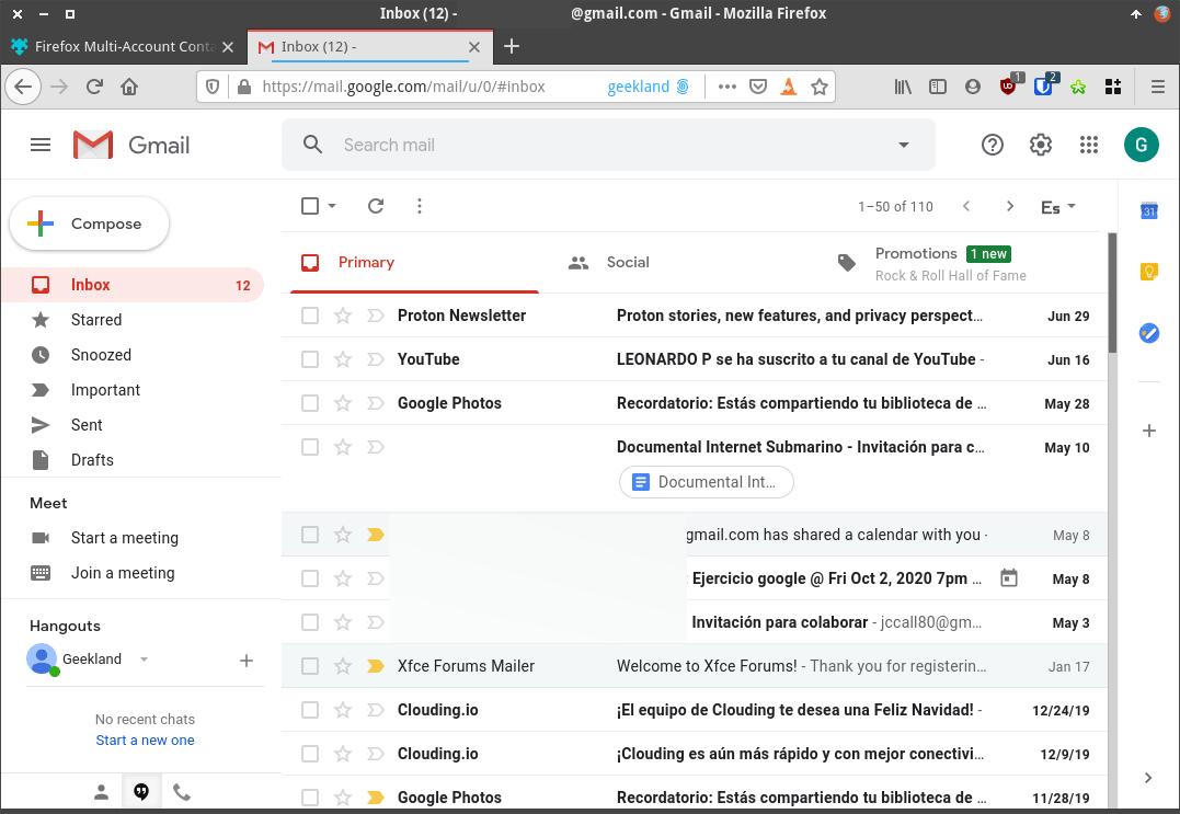 Dentro de mi cuenta de Gmail en el contenedor Geekland
