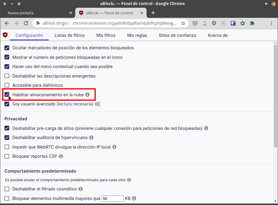 Sincronizar uBlock Origin entre distintos equipos